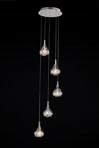 Zeer moderne hanglampen 20015 met aluminiumdraad in glas Hoogte: tot 150 cm, elke slinger kan worden ingekort Diameter: 34 cm Lampen: 5 x 20 W, G4-levering inclusief lampen -