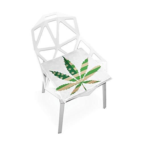 Enhusk Große Außenstuhl Kissen Usa Karte Green Flag Cannabisblatt Weiche rutschfeste Memory Foam Stuhlkissen Kissen Sitz Für Home Küche Schreibtisch 16x16 Zoll Außenstuhl Pad