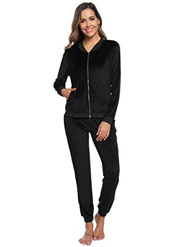 Akalnny Damen Nickic Velours Trainingsanzug 2-Teiliger Jogginganzug Sportanzug Casual Hausanzug Zweiteiliger Zipper Jacke Hose Kordelzug Taschen (M, Schwarz)
