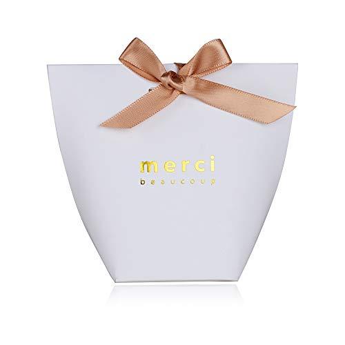 SERWOO (5.7 * 5.7 * 10cm) 50 Stück Gastgeschenk Box Geschenkbox Pralinenschachtel für Hochzeit, Geburtstag, Taufe, Party, Weihnachten Süßigkeiten Bonboniere