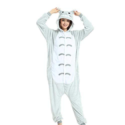 SUMHOM Pijama de Chinchilla Animal de una Pieza, Ropa de hogar cálida de otoño e Invierno de Dibujos Animados-Totoro_Talla M (Altura 155-165)