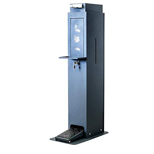Hygienestation Säule für Desinfektionsmittel - Spender mit Fußpedal Kontaktlos - Stahl Anthrazit pulverbeschichtet 113 cm 5 Liter Fassungsvermögen