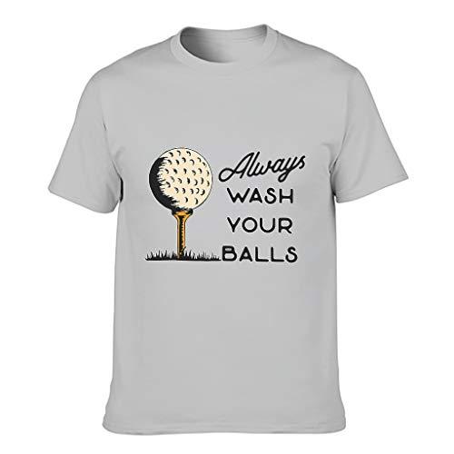 """Herren T-Shirt mit Aufschrift """"Always Wash Your Balls"""", Baumwolle, lässiges Sommer-Shirt Gr. S, Silbergrau"""