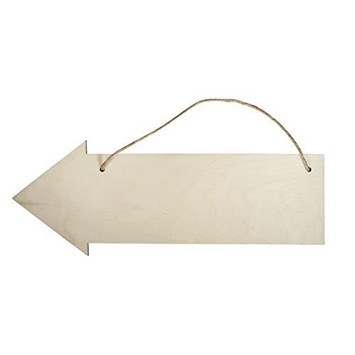 Rayher 62848505 Holzschild Pfeil, 40 x 15 cm, Stärke 6 mm, mit Jute-Aufhänger, Birkenholz, FSC zertifiziert, Holzschild zum Aufhängen, Holzbrett, Türschild, Türhänger blanko, Wegweiser Holz