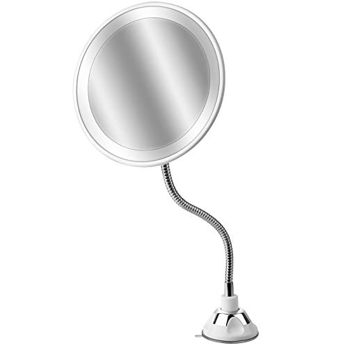 10x Aumento Espejo Maquillaje con Luz LED Aumento 10X Afeitado Aumento con Luz, 360° con Rótulo Giratorio Ajustable y Ventosa,a Pilas