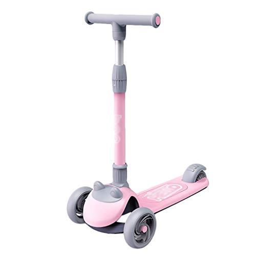 ZHIHUI Scooter Patinete Kick Scooter para Niños Boys Girls 3 Ruedas PU Flashing Wheels Scooters Ajustable Heights Lean para Dirigir Scooter (Color : Pink)