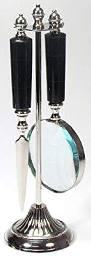 Casa Padrino Jugendstil Schreibtisch Deko Set Lupe und Brieföffner mit Ständer Silber/Schwarz Ø 10 x H. 32 cm - Büro Deko Accessoires