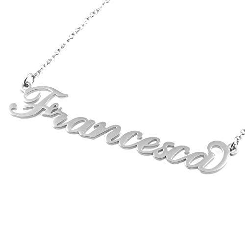Collana con Nome Francesca in Acciaio da Donna Inossidabile Catena Fino a cm 50