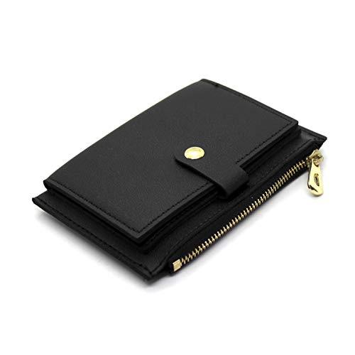 Portafoglio donna piccolo mini in ecopelle con porta carte documenti porta monete cerniera zip portatessere elegante compatto idea regalo (Nero)