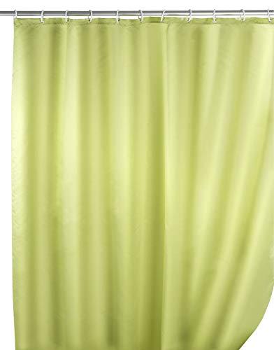 WENKO Anti-Schimmel Duschvorhang Uni Anise Green - Anti-Bakteriell, waschbar, mit 12 Duschvorhangringen, Polyester, 180 x 200 cm, Anisgrün