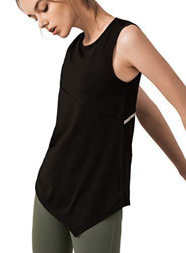 カジュアル レディース タンクトップ 吸汗速乾 ヨガウェア フィットネス ダンス 快適設計 シャツ おしゃれ シンプル ランニング ジム 通気性 (A- ブラック, L)