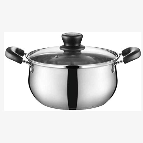 TYUXINSD Durable Stainless Steel Stock Pot, Sauce Pan with Glass Lid, Double Handle, a Scale Engraved Inside, Induction Compatible,Dishwasher Safe (Size : 18cm) (Size : 18cm)