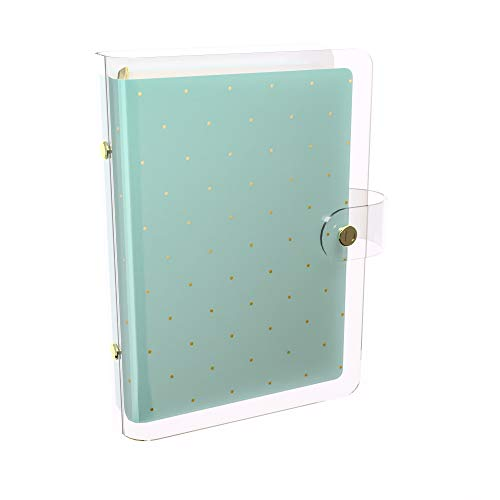 Discagenda Clarity Transparent Nested Clear PVC Planner Personal Organizer (Mint with Gold Polka Dots, Ringbound Personal Size)