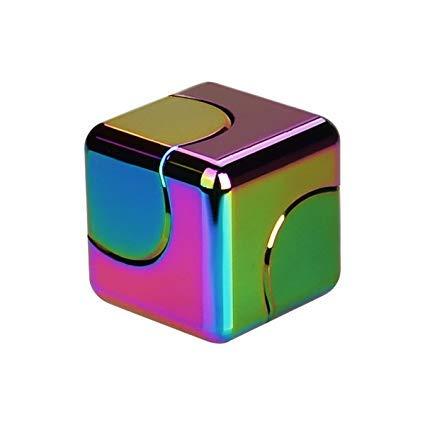 OneHorse ハンド スピナー キューブ型 おもちゃ 虹色 ストレス解消 手の平サイズ