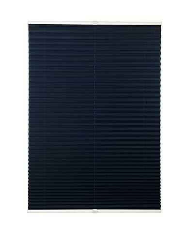 Plissee ohne Bohren viele Farben mit Klemmträger Sichtschutz Sonnenschutz für Fenster und Tür Dunkelblau 80x210 cm