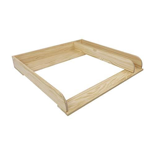 Puckdaddy Wickelaufsatz Peter – 80x78x10 cm, Wickelauflage aus Holz, hochwertiger Wickeltischaufsatz mit Trennfach passend für IKEA Malm Kommoden, inkl. Wandbefestigung