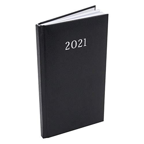 Taschenkalender 2021 10x18cm Business Notiz Terminplaner Kalender Timer Buchkalender (Schwarz)