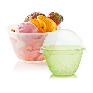 Packung mit 200 Stück Multicolor CC 100 + Deckel aus transparentem Kunststoff für Eis YoguRT PLASTIC CUP COLOR FOR ICE CREAM