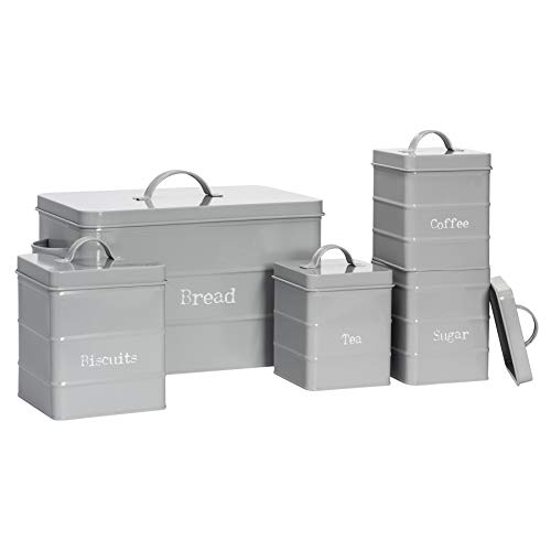 Harbour Housewares 5 Piece Industrial Kitchen Storage Canister Set - Vintage Style Steel Tea Coffee Sugar Caddy with Lid - Grey