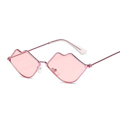 AleXanDer1 Gafas de Sol Moda Metal Gafas de Sol Mujeres Sexy Labios Rojos Diseño Ladies Gafas de Sol Pequeño Marco Espejo Océano (Lenses Color : PinkPink)