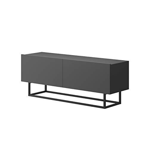 MOEBLO Festnight TV-Schrank, Industrial Fernsehtisch TV Lowboard Tisch Retro Fernsehschrank Holz TV Board Massives mit Stahlrahmen 120 x 37 x 45 cm TURNO TRT120 (Graphit)