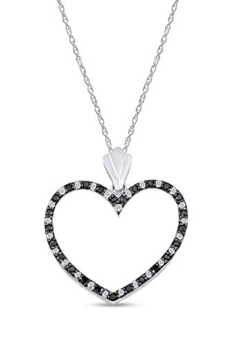 Colgante de murciélago de diamante blanco y negro de 1/3 quilate con forma redonda natural en oro blanco de 18 quilates sobre plata de ley (0,33, claridad I2), Diamond,