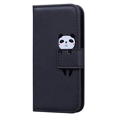 Leyoon Hülle kompatibel mit iphone 5/5S/SE,Cartoon Tiermuster Case,Speicherkarten-Typ Handyhülle,Hochentwickelter Flip-Magnetschnallenschutz Case Cover für iphone 5/5S/SE,Schwarzer Panda