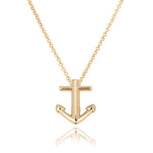 AKKi jewelry, collana da donna con ciondolo a forma di ancora, in acciaio inox, colore argento, 55 cm e Acciaio inossidabile, colore: oro 957, cod. AKC-013-32-003