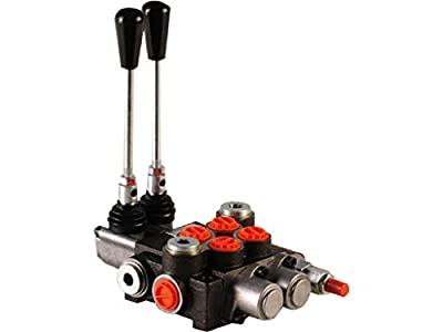 2 spool hydraulic directional control valve 11gpm, double acting spools, monoblock, cast iron, 4 ways, 3 positions, spring center, 4300psi, BSP ports by Badestnost