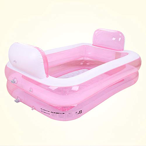 ZHKGANG Aufblasbares Pool Der Familien-Pool-Mitte-Kinder Im Freien Rechteckige Rückenlehne Erwachsene Badewanne, Pink-152 * 108 * 60cm