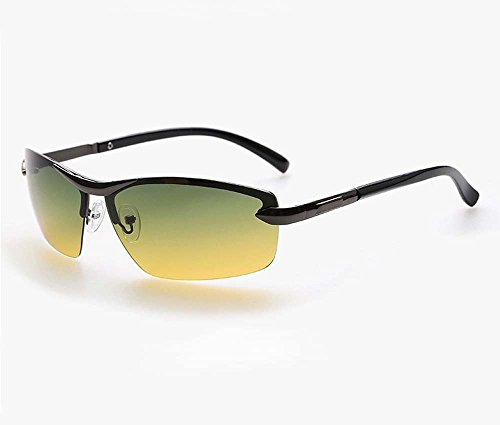 wasd Polarized Sunglasses Male Driver Mirror Day and Night Driving Glasses, Night Vision Goggles Sunglasses(Gun Color Frame)