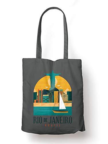 BLAK TEE Rio de Janeiro Brazil Organic Cotton Reusable Shopping Bag Grigio