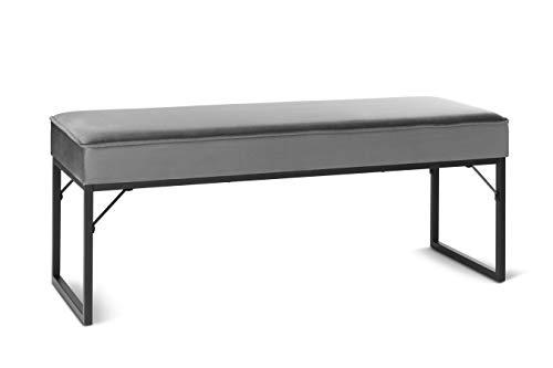 LIFA LIVING Sitzbank mit Samtbezug und Polsterung, Polsterbank für den Innenbereich, Schlafzimmer, Wohnzimmer, Flur, Bank aus Samt, Holz & Metall, für 2 Personen