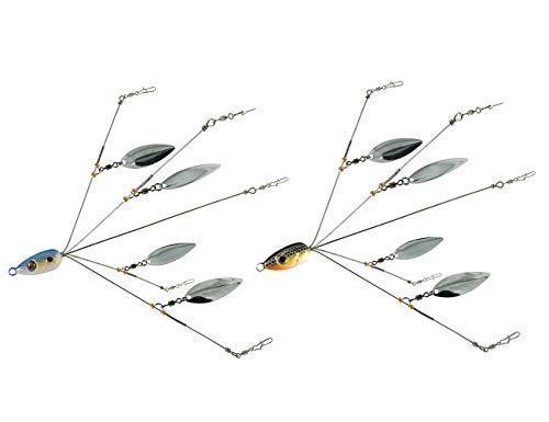 5 Arms Alabama Umbrella Rig Fishing Ultralight Tripod Bass Lures Bait Kit Junior Ultralight Willow Blade Multi-Lure Rig (bluegray)