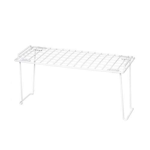 Smart Design Stacking Cabinet Shelf Rack - Medium (18 x 7 Inch) - Steel Metal Wire - Cupboard, Plate, Dish, Counter & Pantry Organizer Organization - Kitchen [White]
