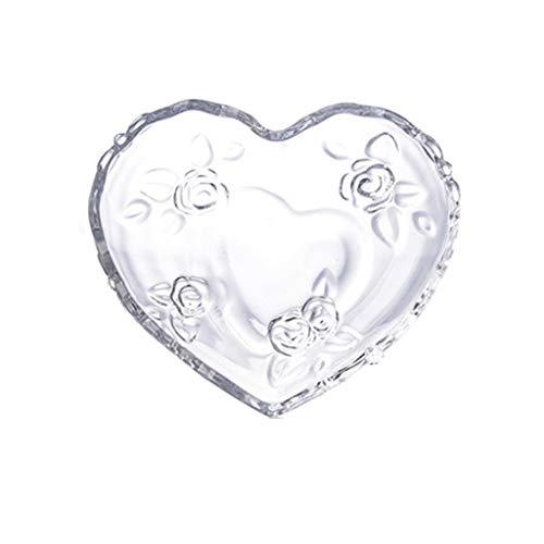 ZAIZAI Bandeja de Plato de Fruta de Vidrio Rosa con Forma de corazón Transparente, nueces de Grabado Floral, Cuenco de Ensalada, Platos para Aperitivos, vajilla para Amantes