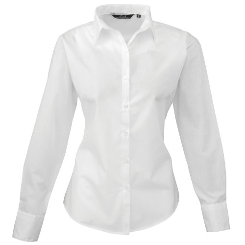 Premier Fitness Damen Poplin Long Sleeve Blouse Bluse, Weiãÿ, 38