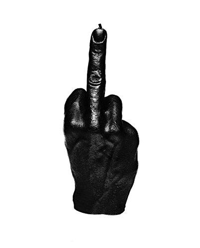 Candellana Kerze in Form eines Mittelfingers | FCK | Höhe: 22,2 cm | Schwarz | Handgefertigt in der EU