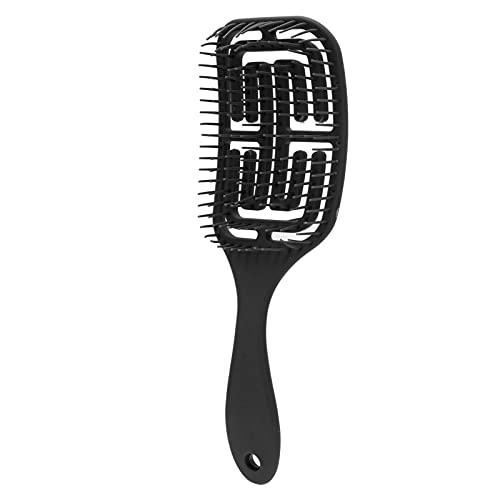 Cepillo de pelo recto peine herramienta de peluquería antiestática de nailon curvo para cabello lacio rizado y seco húmedo largo grueso(Negro)