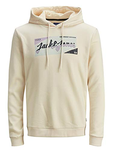 JACK & JONES JORLOGON Hood FST Sweatshirt Capuche, Perles de mer-Coupe : Sweat, L Homme