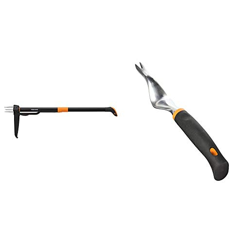 Fiskars 4-Claw Weeder 39 Inch, Black/Orange (339950-1001) Softouch Hand Weeder, 70606935J