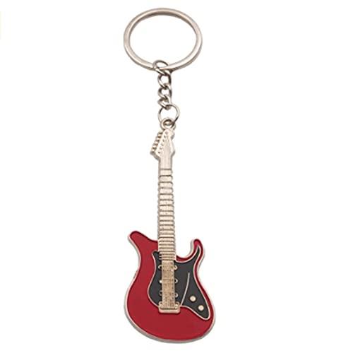 XQWR Mini-Gitarren-Schlüsselbund Bassgitarren-Schlüsselring E-Gitarren-Schlüsselbund Metall-Schlüsselbund Herren-Schlüsselbund (rot)