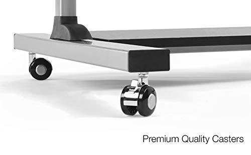 Mobile Standing Desk - TechOrbits Rolling Workstation Cart - Stand Up Media Podium - Height Adjustable Computer Cart