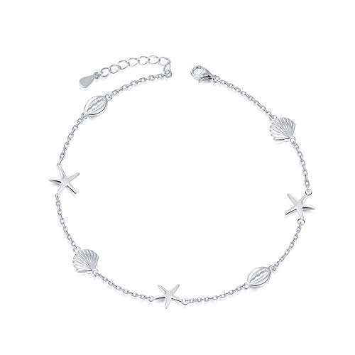 BEILIN 925 Sterling Silver Seabeach Conch Starfish Anklet for Women Girls (8.6+2 inches)
