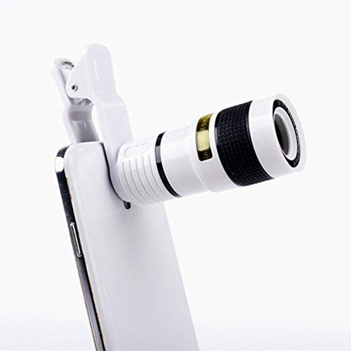 SHUWB Telescopio monocular Universal 8X con teleobjetivo Ocular con Montura para trípode y la mayoría de Las cámaras con Zoom de Smartphone Lente de Smartphone móvil (Color : White)
