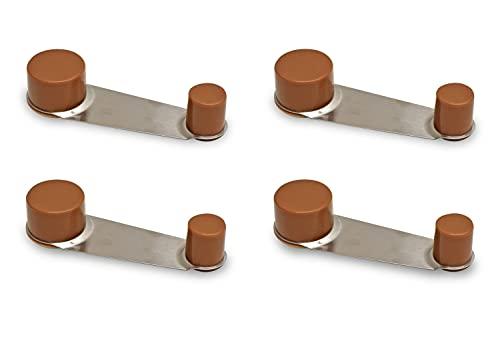 [x4] Tope de Puerta Retenedor - Giratorio - Adhesivo 3,2 x 10 x 2,2 cm (Marrón claro)