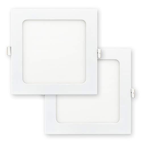 POPP- Pack 2 Downlight LED Techo Cuadrado 12W, Luz Frio 6000k, Placa Plafón Empotrable Extraplano Blanco, chip OSRAM, Incluye Transformador(6000K, 12W)