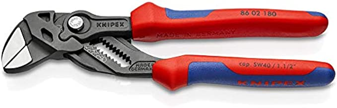 KNIPEX Tools 86 02 180 Pliers Wrench, Black Finish Comfort Grip, 7.25""