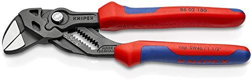 Knipex 86 02 180 schwarz atramentiert 180 mm Zangenschlüssel, Zange und Schraubenschlüssel in einem Werkzeug, Rot