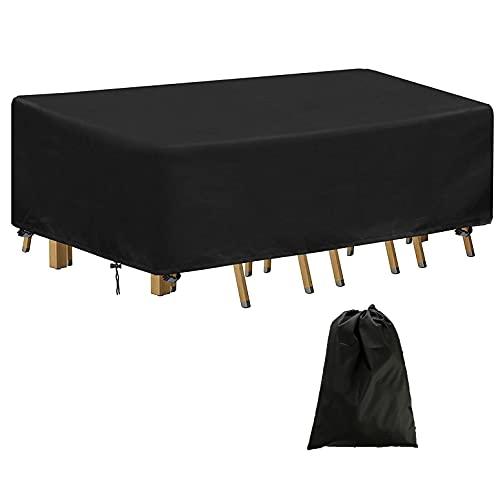 DXAQX - Copertura impermeabile per mobili da giardino, in rattan, copertura per mobili da giardino in tessuto Oxford 420D, per sedie da tavolo (200 x 160 x 70 cm)